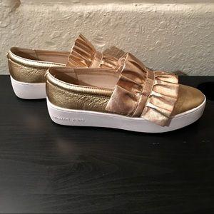 Michael Kors Gold Platform Slip-On Sneakers | 8